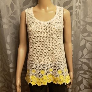 Knit Lace Sheer with Embroidered Flowers T…